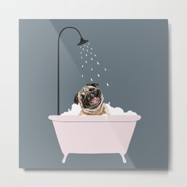 Laughing Pug Enjoying Bubble Bath Metal Print
