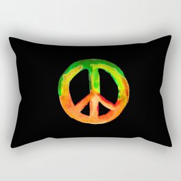 Green Orange Yellow Watercolor Tie Dye Peace Sign Rectangular Pillow
