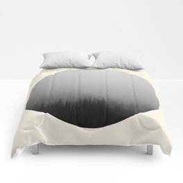 Spooky Foggy Forest Round Photo Comforters