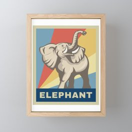Vintage Retro African Elephant Awareness Gift Framed Mini Art Print