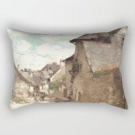 Nicolae Grigorescu - Street in Vitre Rectangular Pillow
