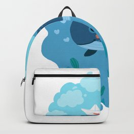 cute whale in love Backpack