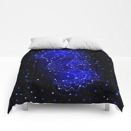 sea horse swims in lights Comforters