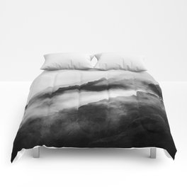 Foggy Mountains Black and White Comforters