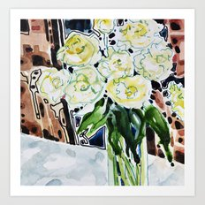 Roses Blanches Art Print