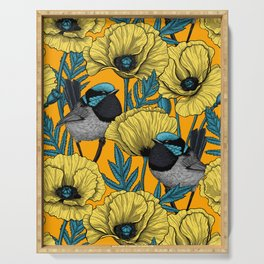 Fairy wren and poppies in yellow Serving Tray