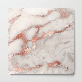 Rose Gold Marble Blush Pink Copper Metallic Foil Metal Print