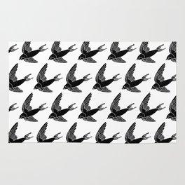 Linocut Swallow bird pattern black and white birds minimal gender neutral nursery Rug