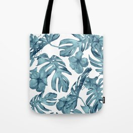 Teal Blue Tropical Palm Leaves Flowers Tote Bag