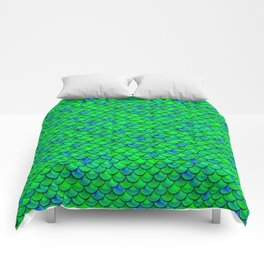 Green Blue Scales Comforters