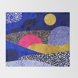 Terrazzo galaxy blue night yellow gold pink Throw Blanket