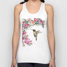 Hummingbird and Flowers Watercolor Animals Unisex Tank Top