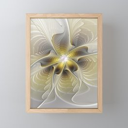 Gold And Silver, Abstract Flower Fractal Framed Mini Art Print