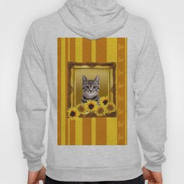 Tiger Cat yellow sunflower frame butterfly stripes Hoody