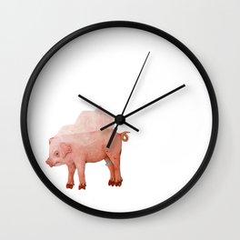 Piglet in Wedding Veil Wall Clock