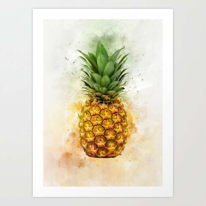 Watercolor Pineapple Art Print