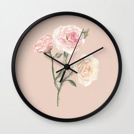 Vintage Watercolor Rose Blush Tones Wall Clock