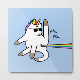 Unicorn Cat Rainbow Butt Laser Metal Print