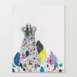 Untitled Queen Wearing Paper Betty Rubble Dress Canvas Print
