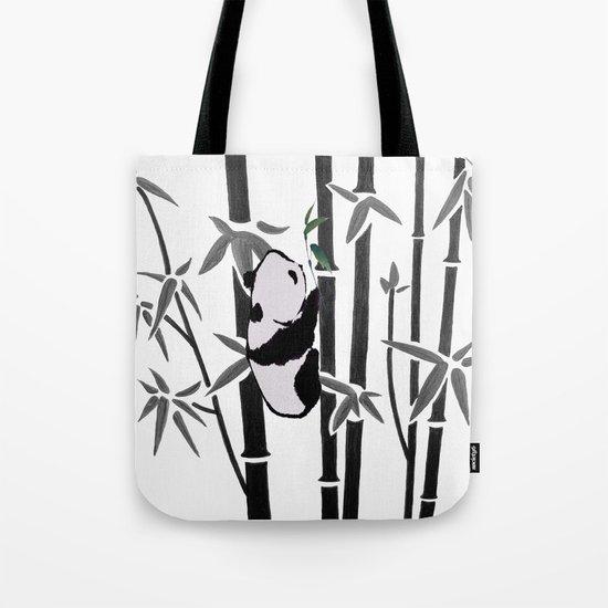 Panda bamboo feeding Tote Bag