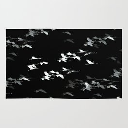 Abstract Black and White Crane Flock #decor #society6 Rug