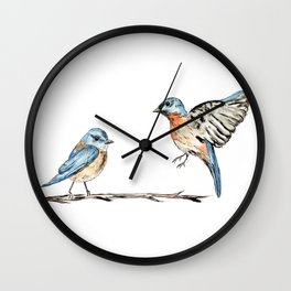 Bluebirds watercolour and ink Wall Clock
