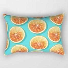 Orange Slices on Blue Rectangular Pillow