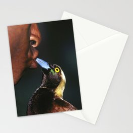 Papua New Guinea Villager Feeding Pet Wild Bird Stationery Cards