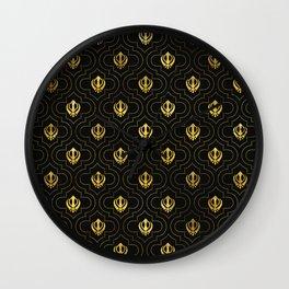 Gold Khanda symbol pattern Wall Clock