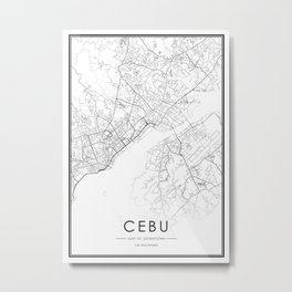 Cebu City Map The Philippines White and Black Metal Print