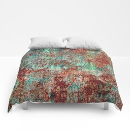 Abstract Rust on Turquoise Painting Comforters