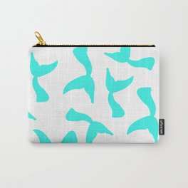 Trendy girly turquoise bright mermaid tails pattern Carry-All Pouch