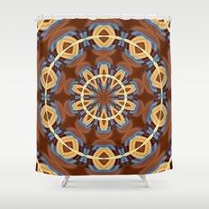 Blue Wood Kaleido Pattern Shower Curtain