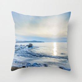Frozen wharf and Halo Throw Pillow