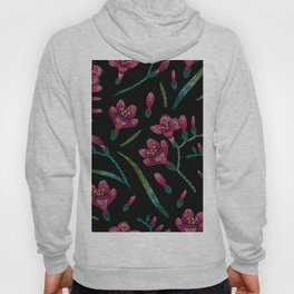 Embroidered Flowers on Black Pattern 07 Hoody
