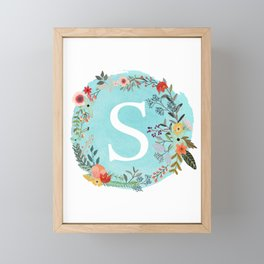 Personalized Monogram Initial Letter S Blue Watercolor Flower Wreath Artwork Framed Mini Art Print