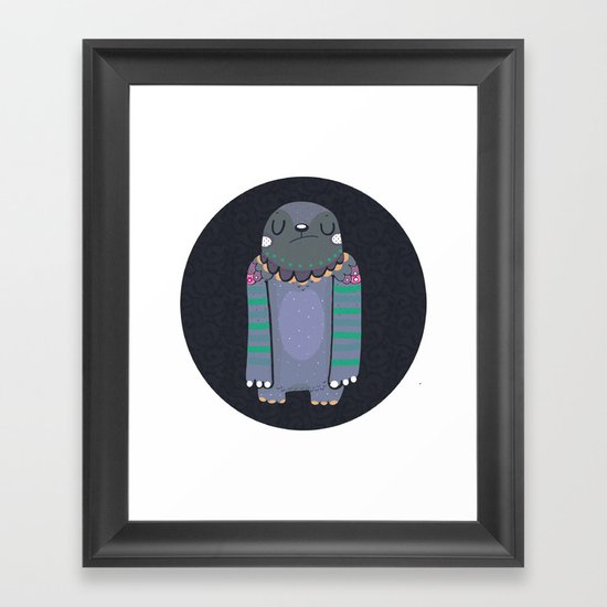 Gray monster Framed Art Print