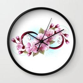 Infinity with Sakura Blossom Wall Clock