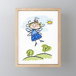 Happy Flying Angel Illustration Framed Mini Art Print