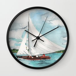 Sail Away watercolor painting of sailboat on turquoise waters Wall Clock