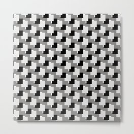 Black, Grey and White Abstract Squares Pattern Metal Print