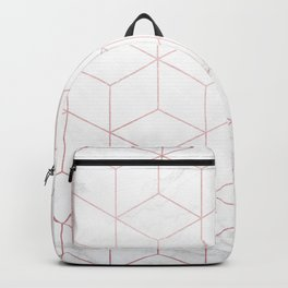 Rose Gold Geometric White Mable Cubes Backpack