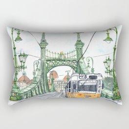 Budapest Hungary Liberty Bridge Painting Rectangular Pillow