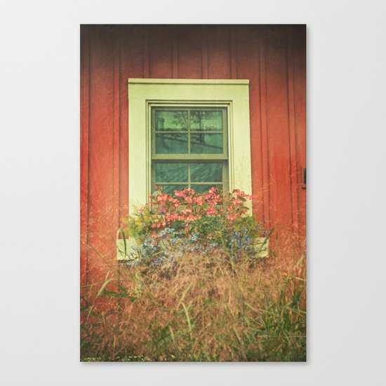 White Window on Red House Canvas Print