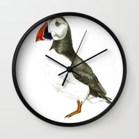 puffin Wall Clocks featuring Puffin by Night owl