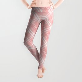 Blush Pink Valentine Sweetheart Tartan Plaid Check Leggings