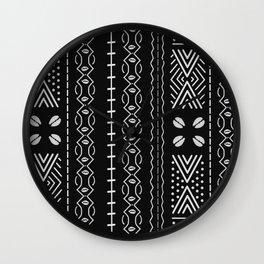 Black mudcloth with shells Wall Clock