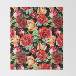 Hand painted black red watercolor roses floral Throw Blanket