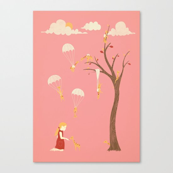 Invasion of the Tiny Giraffes   (alternate colors) Canvas Print