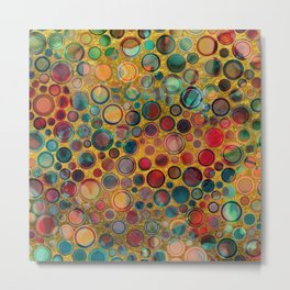 Dots on Painted and Gold Background Metal Print